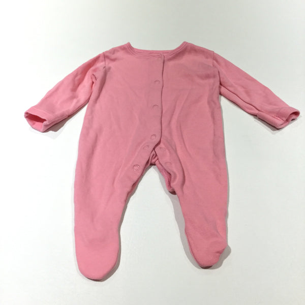 Pink Babygrow with Integrated Mitts - Girls Newborn