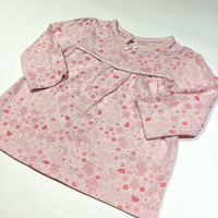 Rabbits, Flowers & Toadstools Pink Long Sleeve Tunic Top - Girls 3-6m