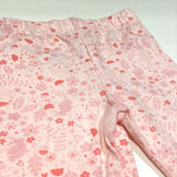 Rabbits, Flowers & Toadstools Pink Leggings with Frilly Hems - Girls 3-6m