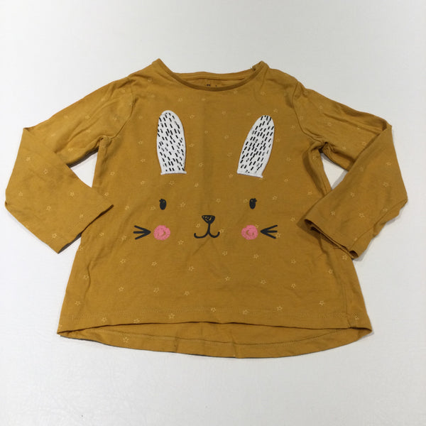 Rabbit Face Mustard Yellow Long Sleeve Top - Girls 3-4 Years