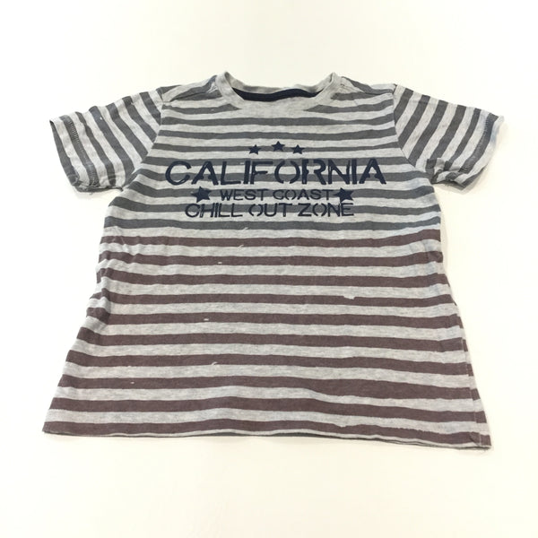 'California West Coast Chill Out Zone' Grey & Brown Striped T-Shirt - Boys 4-5 Years