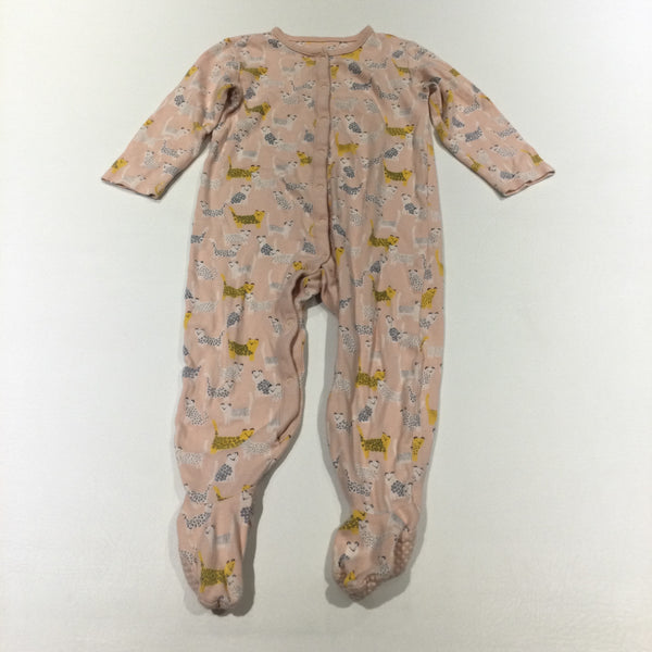 Leopards Pink & Yellow Babygrow with Non-Slip Feet - Girls 18-24 Months