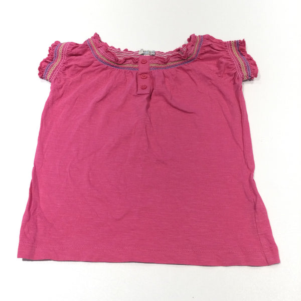 Indigo Pink Embroidered Tunic Top - Girls 3-4 Years
