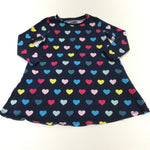 Spots Colourful Navy Jersey Dress - Girls 3-4 Years