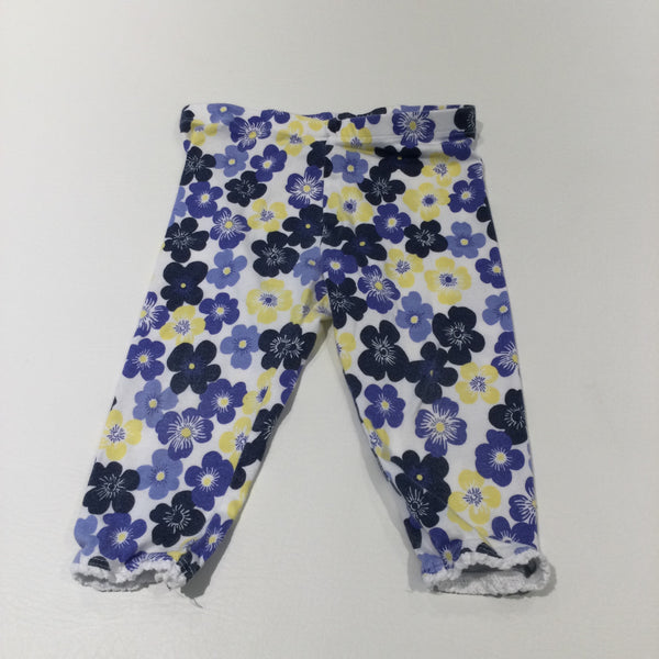 Flowers Navy, White, Yellow & Blue Cropped Leggings - Girls 3-4 Years