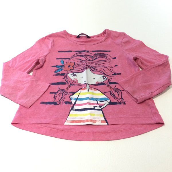 Girl Pink Long Sleeve Top - Girls 2-3 Years