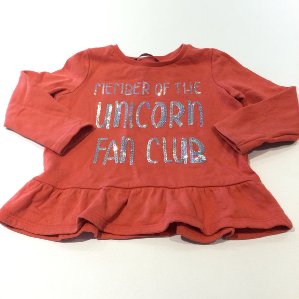 'Member Of The Unicorn Fan Club' Sequins Orange Sweatshirt with Frilly Hem - Girls 2-3 Years