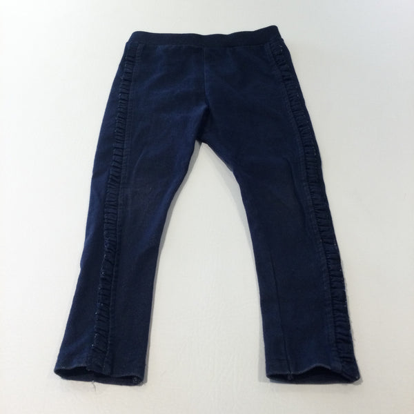Dark Blue Denim Effect Jeggings with Frill Detail - Girls 2-3 Years