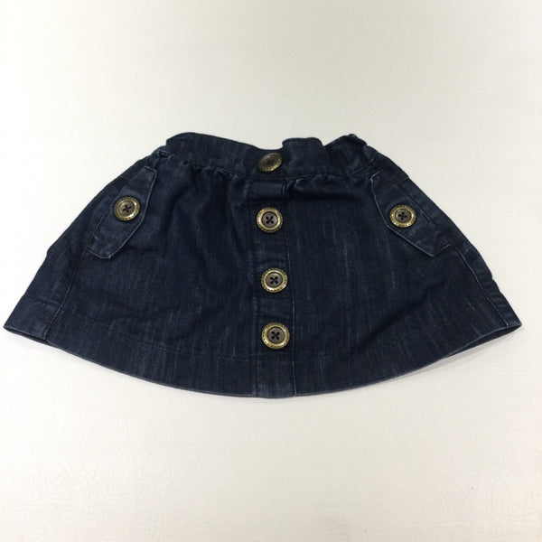 Gold Buttons Dark Blue Denim Skirt with Adjustable Waistband - Girls 18-24 Months