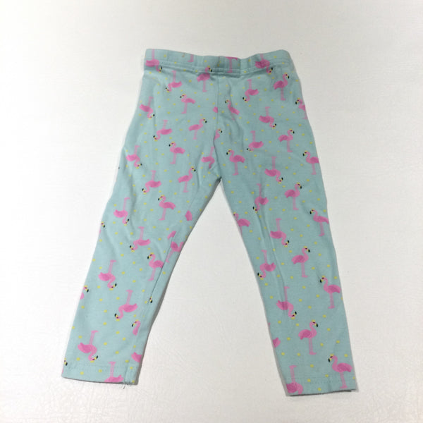 Flamingos Pink & Blue Leggings - Girls 18-24 Months