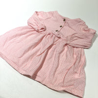 Pink & White Patterned Long Sleeve Jersey Dress - Girls 0-3 Months