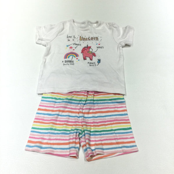 'How To Be A Unicorn…' White & Colourful Striped Short Pyjamas - Girls 12-18 Months
