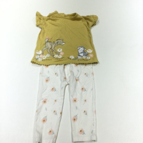 'Always Making New Friends' Bambi & Thumper Mustard Yellow T-Shirt & Flowers White Leggings Set - Girls 12-18 Months