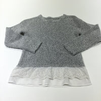 Grey Knitted Jumper with Lace Hem - Girls 7-8 Years