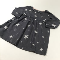 White Stars Charcoal Grey Long Sleeve Jersey Dress - Girls 3-6 Months