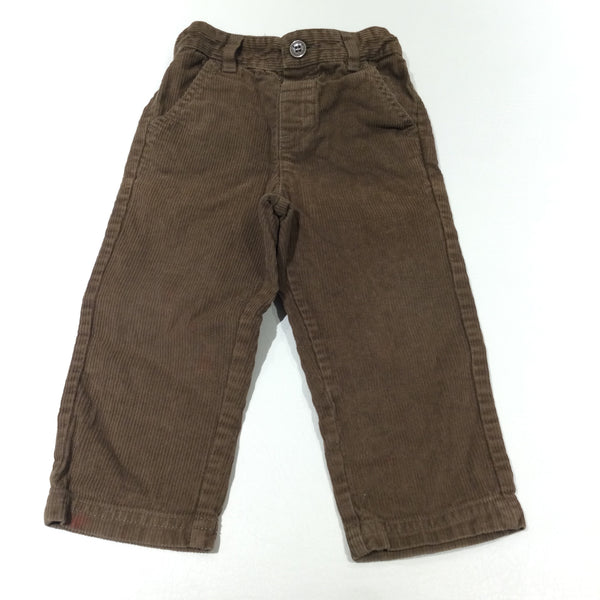 Brown Corduroy Trousers with Adjustable Waistband - Boys 12-18 Months
