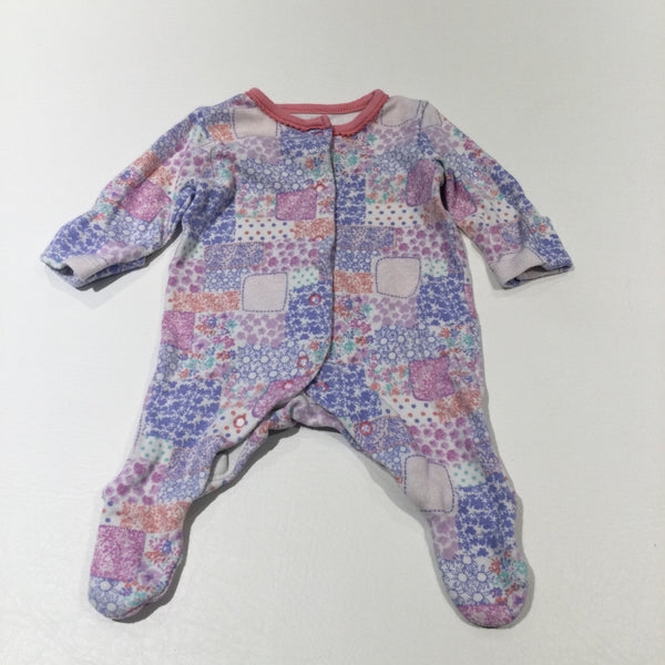 Flowers Patchwork Effect Pink & White Babygrow with Integrated Mitts - Girls Tiny Baby