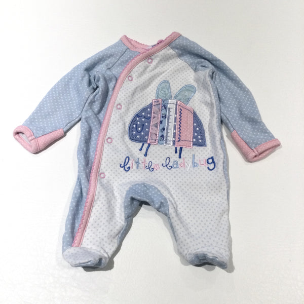 'Little Ladbybug' Appliqued & Embroidered Pink, Blue & White Babygrow with Integrated Mitts - Girls Tiny Baby