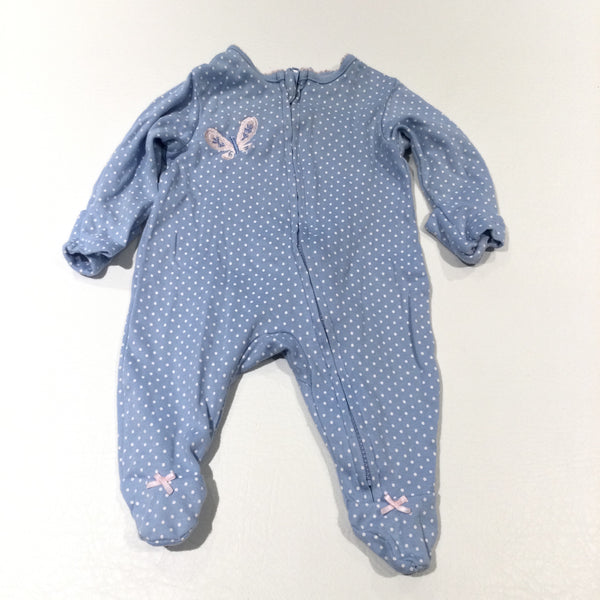 Butterfly Embroidered Blue & White Spotty Babygrow with Integrated Mitts - Girls Tiny Baby