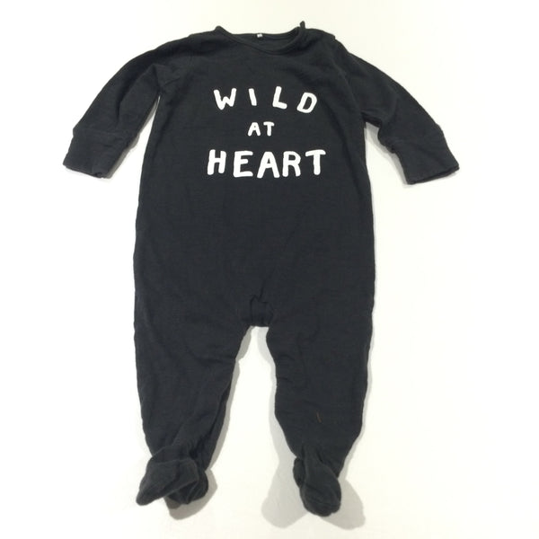 'Wild At Heart' Black & White Babygrow with Integrated Mitts - Boys/Girls 3-6 Months