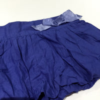 Blue Cotton Skirt with Bubble Hem & Bow - Girls 3-4