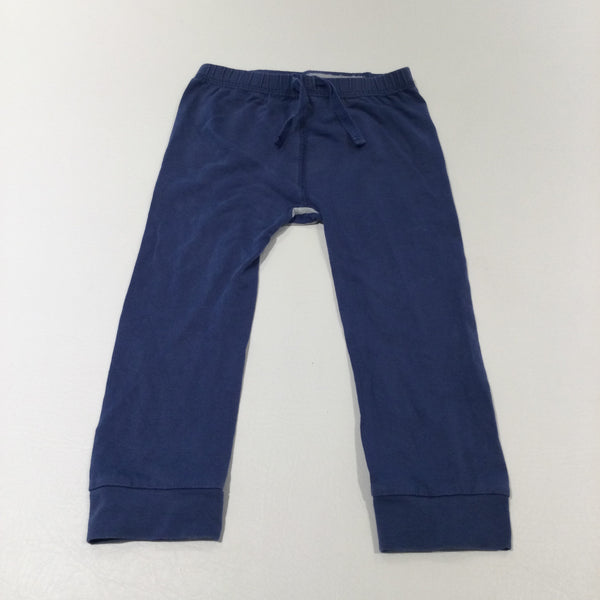 Blue Lightweight Jersey Trousers with Stripey Bottom - Boys/Girls 12-24 Months