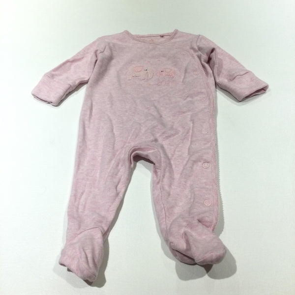 'Born In 2020' Elephants Embroidered Pink Babygrow with Integrated Mitts - Girls 0-3 Months