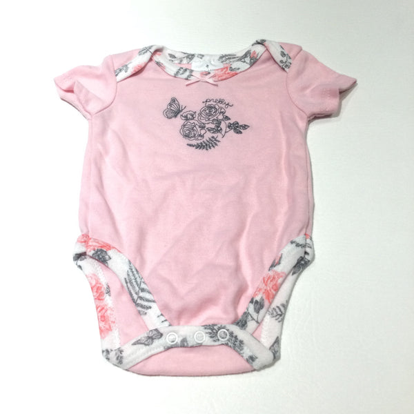'Pretty' Flowers & Butterfly Embroidered Pink & White Short Sleeve Bodysuit - Girls 0-3 Months