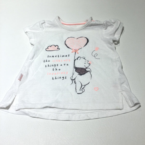 'Sometimes The Littlest Things Are The Loveliest Things' Winnie The Pooh White, Pink & Grey T-Shirt - Girls 0-3 Months
