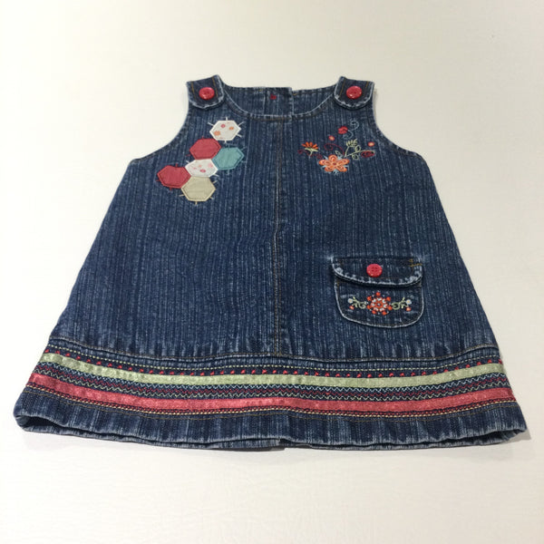 Flowers Embroidered Dark Blue Denim Dungaree Dress - Girls 0-3 Months