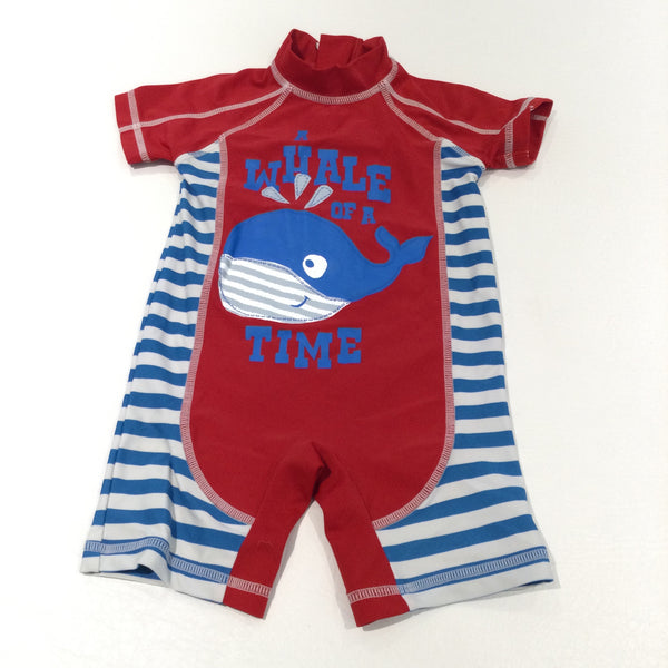 'A Whale Of A Time' Blue, Red & White Sun / Beach Suit - Boys 6-9 Months