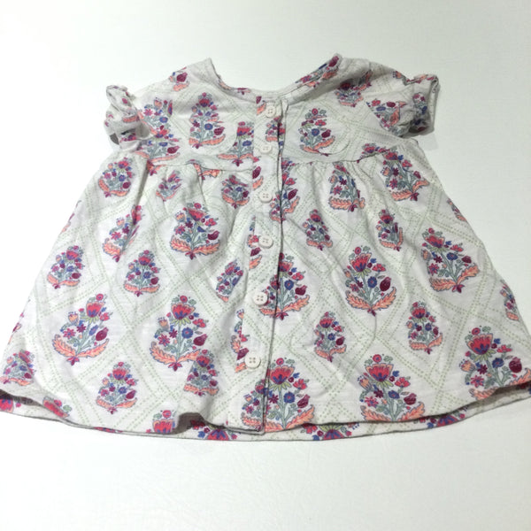 Flowers Colourful White Short Sleeve Jersey Dress - Girls 3-6 Months