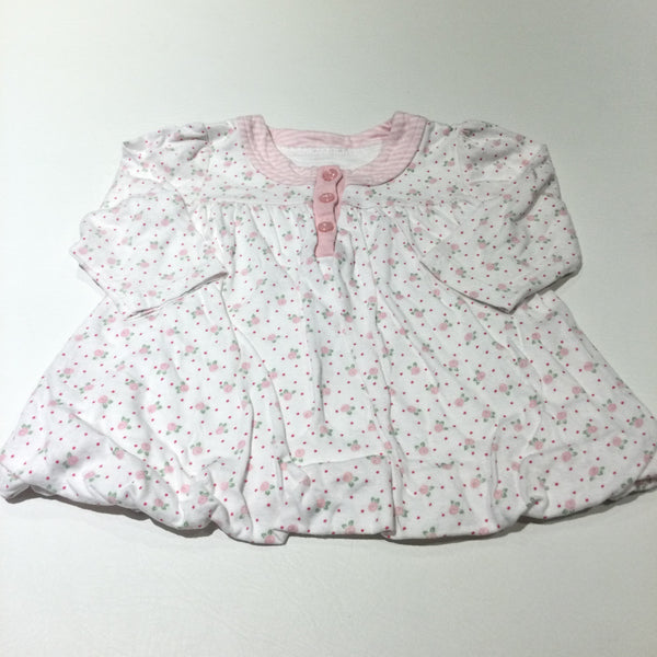 Pink Flowers White Jersey Long Sleeve Dress with Bubble Hem - Girls 3-6 Months