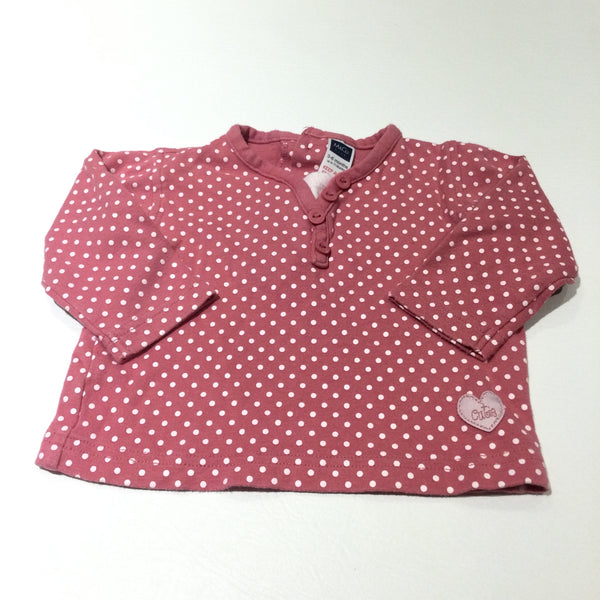 'Cutie' Heart Badge Spotty White & Pink Long Sleeve Top - Girls 3-6 Months