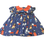 Dogs Colourful Navy & Red Short Sleeve Jersey Dress - Girls 3-6 Months