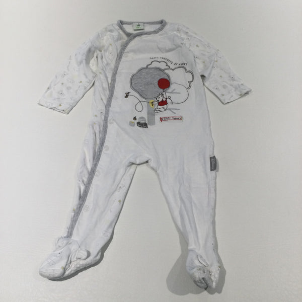 'Happy Thoughts Of Hunny' Winnie The Pooh, Bees & Balloon Appliqued & Embroidered White & Grey Babygrow with Non-Slip Feet - Boys/Girls 6-9 Months