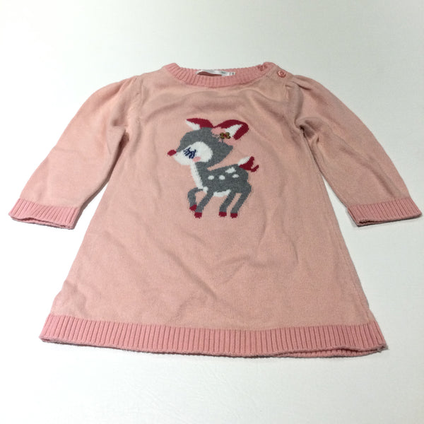Deer Pink Lightweight Knitted Dress - Girls 3-6 Months