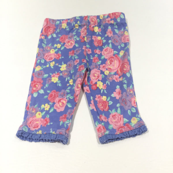 Roses Colourful Blue Leggings with Lacey Hems - Girls Newborn - Up To 1 Month