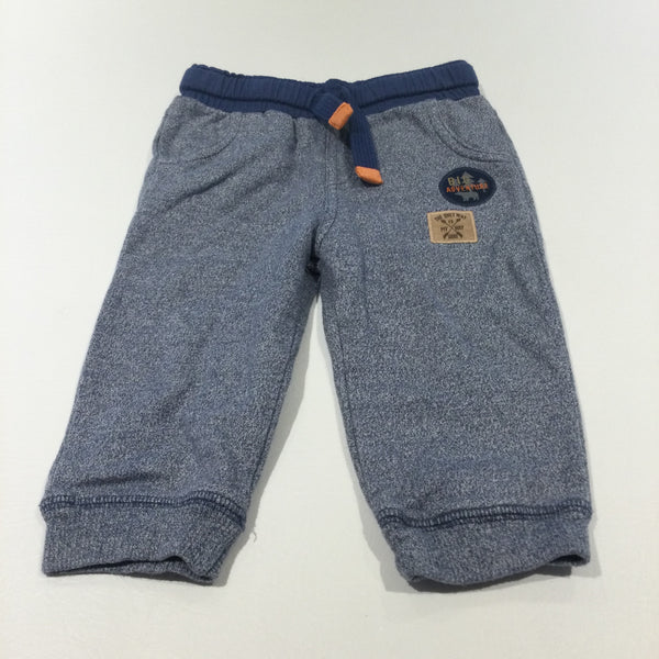'Big Adventure' Badge Blue Mottled Tracksuit Bottoms - Boys 6-9 Months