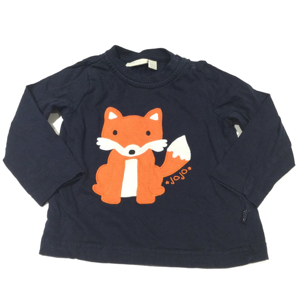 'Jojo' Fox Appliqued Navy Long Sleeve Top - Boys 6-12 Months