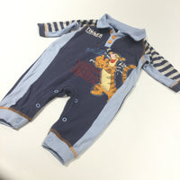 Tigger Appliqued Navy, Cream & Blue Jersey Romper - Boys 0-3 Months