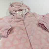 Hearts Textured Pink Velour Lightweight Pramsuit with Hood & Ears - Girls 12-18 Months