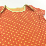 Stars Yellow & Orange Short Sleeve Bodysuit - Boys 0-3 Months