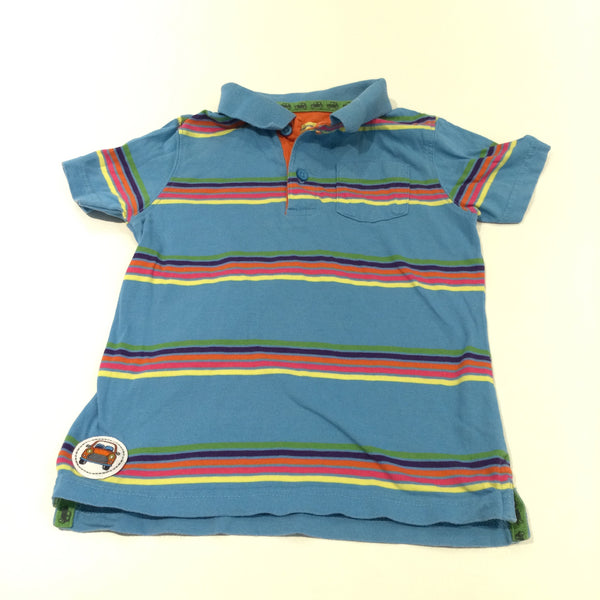 Blue Colourful Striped Polo Shirt - Boys 3-4 Years