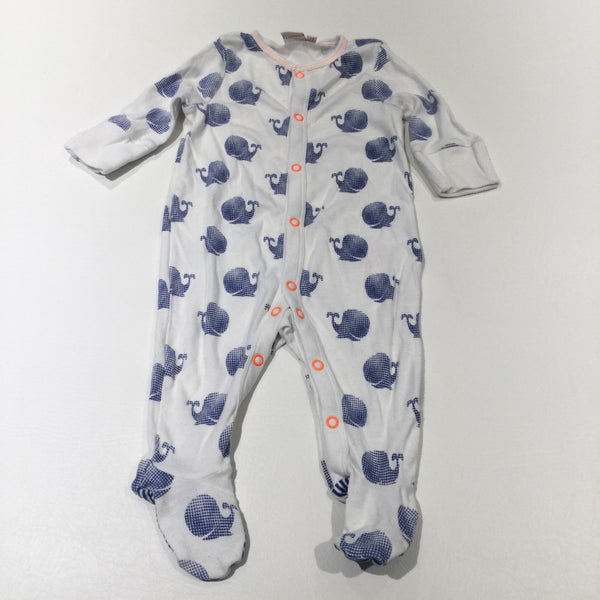Whales Blue, White & Orange Babygrow with Integrated Mitts - Boys 3-6 Months