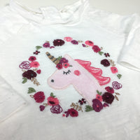 Appliqued Unicorn & Embroidered Flowers White Long Sleeve Top with Frilly Hem - Girls Newborn