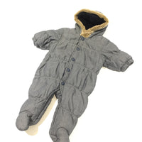 Slate Blue Fleece Lined Pramsuit with Hood - Boys Newborn - Up To 1 Month