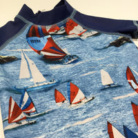 Colourful Boats Blue & Navy Swim / Beach Suit - UPF 50+ - Boys 6-9m