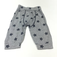 Grey & Navy Stars Jersey Trousers - Boys 3-6 Months