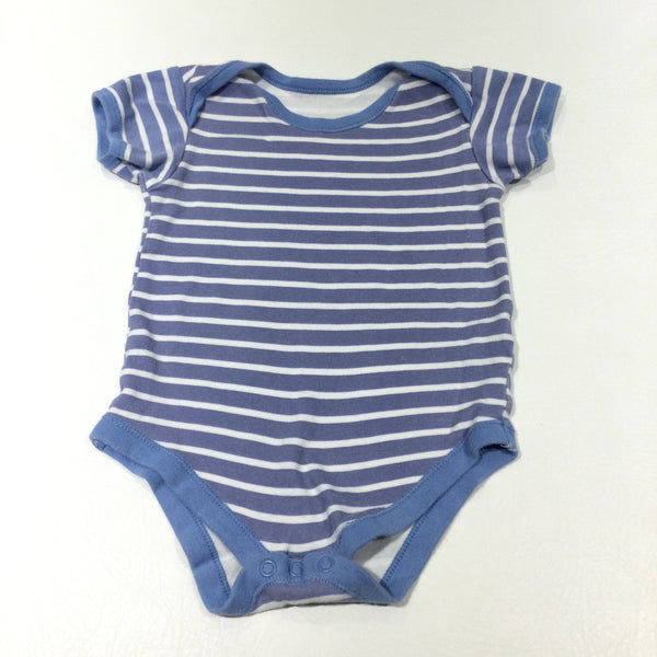 Blue & White Striped Short Sleeve Bodysuit - Boys 18-24 Months